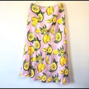 Zara lemon print midi skirt NWT
